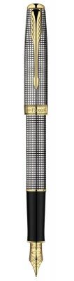 S0808140 *Перьевая ручка Parker Sonnet F534, цвет: Cisele (серебро 925 пробы), перо: F, перо: золото 18К