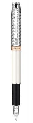 S0947310 Перьевая ручка Parker Sonnet`11 Pearl CT F540, цвет: жемчужный/металлический , перо:F , 18К