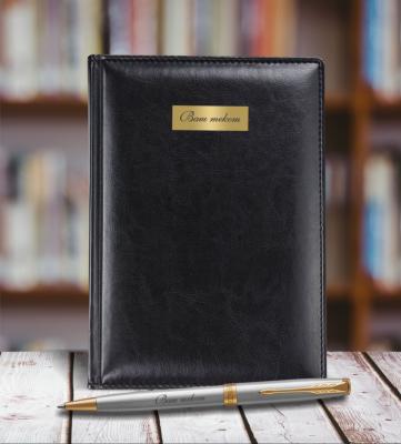 1931507mal Набор с гравировкой: Ежедневник недатированныйи Шариковая ручка Parker Sonnet K527 цвет: St. Steel GT
