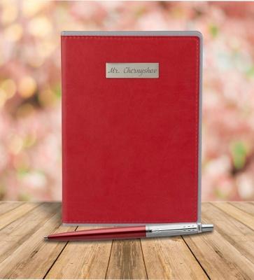 1953187mal Набор с гравировкой: Ежедневник недатированный и Шариковая ручка Parker Jotter Essential, Kensington Red CT