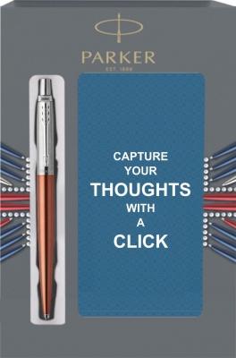 1953189Cover Подарочный набор с блокнотом и Шариковая ручка Parker Jotter Essential, Chelsea Orange CT