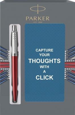 1953187Cover Подарочный набор с блокнотом и Шариковая ручка Parker Jotter Essential, Kensington Red CT