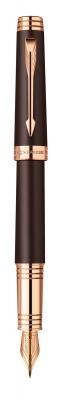 1876394 Перьевая ручка Parker Premier 2013, F560, цвет: коричневый и розовый золотистый (Soft Brown PGT)