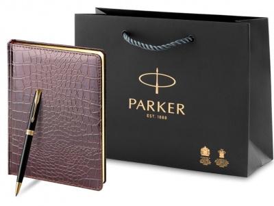 1931497 + 3-494 Набор с гравировкой Parker: шариковая ручка Parker Sonnet и ежедневник коричневого цвета с имитацией под кожу рептилии