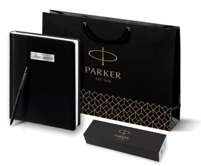 2122753 + 2645.30 Набор с гравировкой Parker: Ежедневник черного цвета и шариковая ручка Parker Jotter XL Black, цвет стержня синий