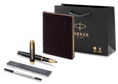 1931659 + 3-494 Набор с гравировкой Parker: ручка-роллер Parker IM Metal Black GTи ежедневник коричневого цвета с имитацией под кожу рептилии