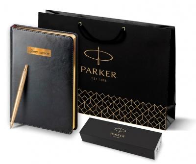 2122754 + 3-128/02 Подарочный набор Parker: Ежедневник черного цвета с золотистым срезом страниц и шариковая ручка Parker Jotter XL YellowGold, цвет стержня синий.
