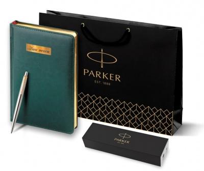1953182 + 3-128.05 Набор с гравировкой Parker: темно-зеленый ежедневник с золотыми страницами и шариковая ручка Jotter Essential, стержень синего цвета