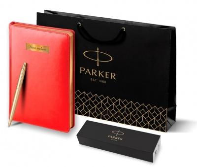 2122754 + 3-128.08 Набор с гравировкой Parker: Ежедневник красного цвета с золотом и шариковая ручка Parker Jotter XL YellowGold, цвет стержня синий