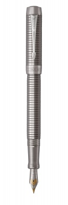 1931333 Перьевая ручка Parker Duofold Prestige Centennial, Ruthenium Chiselled CT, перо: F