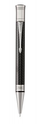 1945414 Шариковая ручка Parker Duofold Prestige Centennial, Black Chevron CT, MBlack