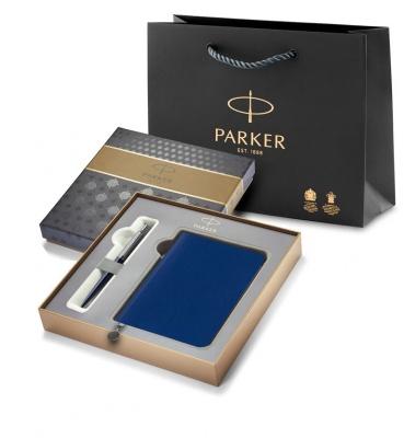 R0033180GiftBox Подарочный набор с Ежедневником недатированным, синий  и Шариковая ручка Parker Jotter K60, цвет: Blue