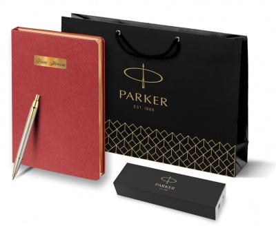 S0856480 + 11105.50 Набор с гравировкой Parker, шариковая ручка Parker IM Brushed GT и ежедневник красного цвета, S0856480giftset
