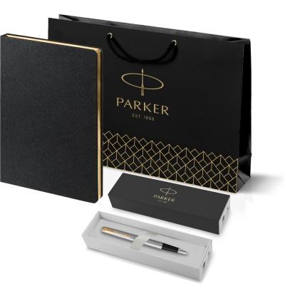 203_11105.30 0948 Подарочный набор:Ручка перьевая Parker Jotter Stainless Steel GT и Ежедневник Saffian недатированный черный с золотистым срезом