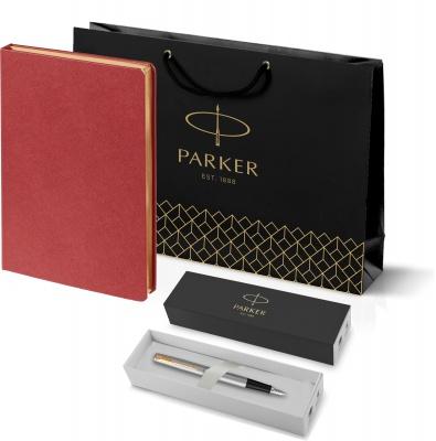 203_11105.500948 Подарочный набор:Ручка перьевая Parker Jotter Stainless Steel GT и Ежедневник Saffian недатированный красный
