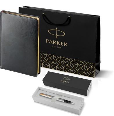 203_3_128.020948 Подарочный набор:Ручка перьевая Parker Jotter Stainless Steel GT и Ежедневник черный недатированный  «Sidney Nebraska»