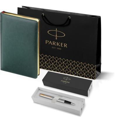 203_3_128.050948 Подарочный набор:Ручка перьевая Parker Jotter Stainless Steel GT и Ежедневник зеленый недатированный  «Sidney Nebraska»