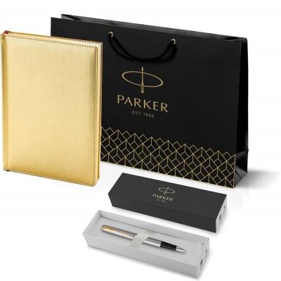203_3_128.110948 Подарочный набор:Ручка перьевая Parker Jotter Stainless Steel GT и Ежедневник золотистый недатированный  «Sidney Nebraska»