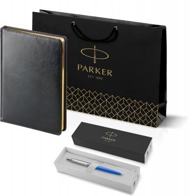 207_3_128.026052 Подарочный набор: Шариковая ручка Parker Jotter ORIGINALS BLUE CT, стержень: Mblue  и Ежедневник черный недатированный  «Sidney Nebraska»