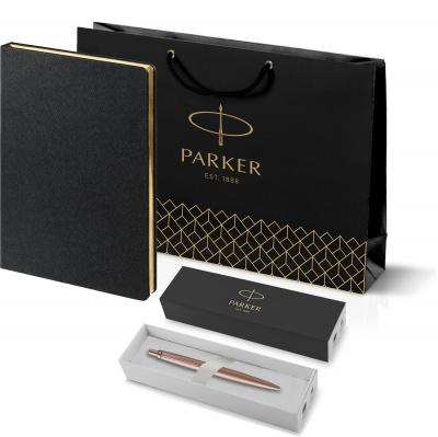 212_11105.302755 Подарочный набор: Jotter XL SE20 Monochrome в подарочной упаковке, цвет: Pink Gold, стержень Mblue иЕжедневник Saffian недатированный черный с золотис