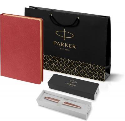 212_11105.502755 Подарочный набор:  Jotter XL SE20 Monochrome в подарочной упаковке, цвет: Pink Gold, стержень Mblue и Ежедневник Saffian недатированный красный