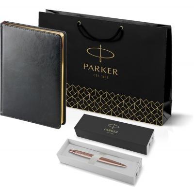 212_3_128.022755 Подарочный набор: Jotter XL SE20 Monochrome в подарочной упаковке, цвет: Pink Gold, стержень Mblue и Ежедневник черный недатированный  «Sidney Nebrask