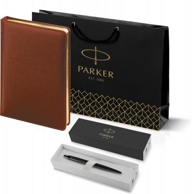 212_3_128.032753 Подарочный набор: Шариковая ручка Parker  Jotter XL SE20 Monochrome в подарочной упаковке, цвет: Black, стержень: Mblue и Ежедневник коричневый недати