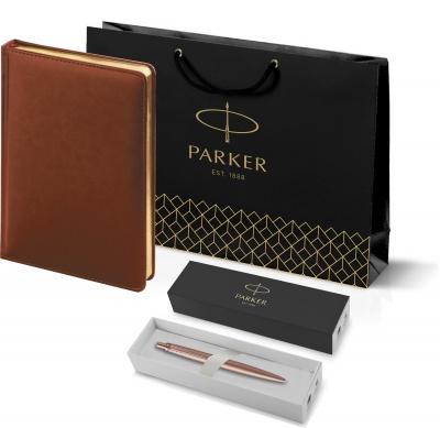 212_3_128.032755 Подарочный набор: Jotter XL SE20 Monochrome в подарочной упаковке, цвет: Pink Gold, стержень Mblue и Ежедневник коричневый недатированный  «Sidney Neb