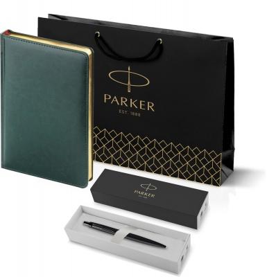 212_3_128.052753 Подарочный набор: Шариковая ручка Parker  Jotter XL SE20 Monochrome в подарочной упаковке, цвет: Black, стержень: Mblue и Ежедневник зеленый недатиров