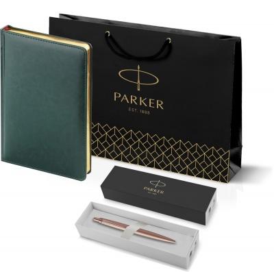 212_3_128.052755 Подарочный набор: Jotter XL SE20 Monochrome в подарочной упаковке, цвет: Pink Gold, стержень Mblue и Ежедневник зеленый недатированный  «Sidney Nebras