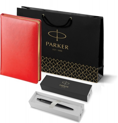 212_3_128.082753 Подарочный набор: Шариковая ручка Parker  Jotter XL SE20 Monochrome в подарочной упаковке, цвет: Black, стержень: Mblue и Ежедневник красный недатиров