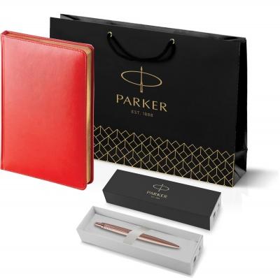 212_3_128.082755 Подарочный набор: Jotter XL SE20 Monochrome в подарочной упаковке, цвет: Pink Gold, стержень Mblue и Ежедневник красный недатированный  «Sidney Nebras