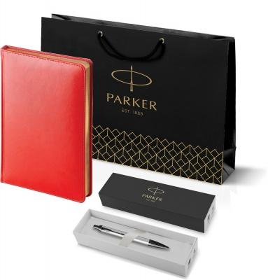 212_3_128.087752 Подарочный набор:Шариковая ручка Parker PK IM MGREY BT , стержень Mblue в подарочной упаковке и Ежедневник красный недатированный  «Sidney Nebraska»