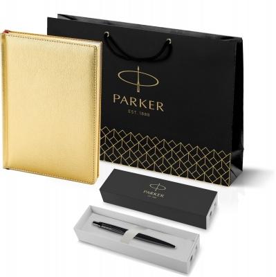 212_3_128.112753 Подарочный набор: Шариковая ручка Parker  Jotter XL SE20 Monochrome в подарочной упаковке, цвет: Black, стержень: Mblue и Ежедневник золотистый недати