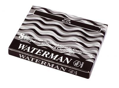 S0110850 Чернила в картридже З/ч. Waterman Ink cartridge Standard Black  (в упаковке 8 картриджей)