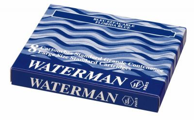 S0110860 Чернила в картридже З/ч. Waterman Ink cartridge Standard Blue  (в упаковке 8 картриджей)