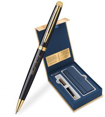 S0920670Gifts Набор с гравировкой: Чехол и Шариковая ручка Waterman Hemisphere Mars цвет: Black GT