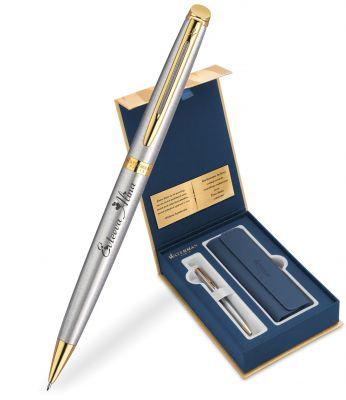 S0920370Gifts Набор с гравировкой: Чехол и Шариковая ручка Waterman  Hemisphere Essential, St. Steel GT