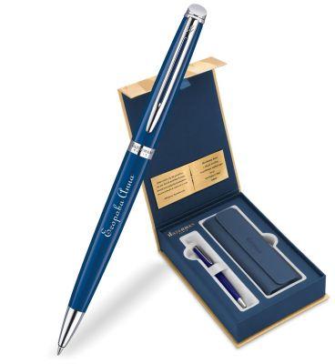 1904603Gifts Набор с гравировкой: Чехол и Шариковая ручка Waterman Hemisphere, Blue Obsession CT