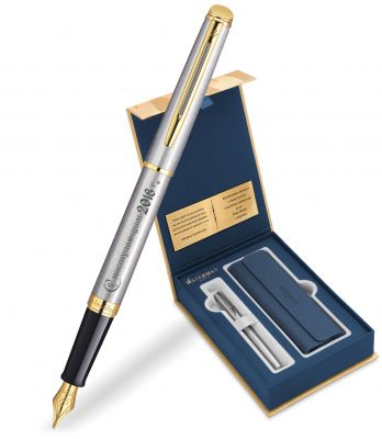 S0920310Gifts Набор с гравировкой: Чехол и Перьевая ручка Waterman  Hemisphere Essential, St. Steel GT