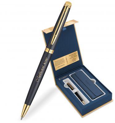 S0920770Gifts Набор с гравировкой: Чехол и Шариковая ручка Waterman Hemisphere, цвет: MatteBlack GT