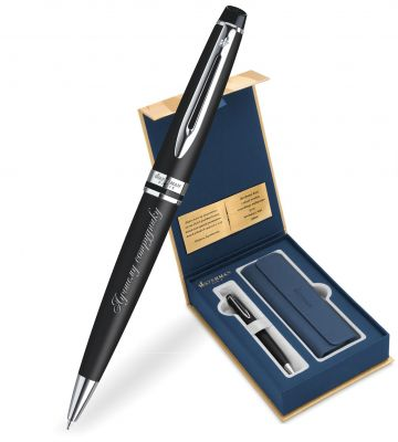 S0951900Gifts Набор с гравировкой: Чехол и Шариковая ручка Waterman Expert Essential, Black CT