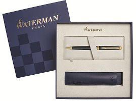 S0920770Cover Подарочный набор Шариковая ручка Waterman Hemisphere Essential, Matt Black GT с чехлом