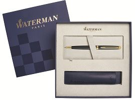 WT8B-BLK2Cover Waterman Hemisphere. Подарочный набор Шариковая ручка Waterman Hemisphere Essential, Matt Black GT с чехлом