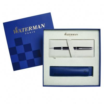WT8R-BLK2Cover Waterman Hemisphere. Подарочный набор Ручка-роллер Waterman Hemisphere Essential, Mars Black CT с чехлом
