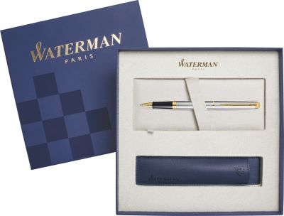 S0920350Cover Подарочный набор Ручка-роллер Waterman Hemisphere Essential, Stainless Steel GT  с чехлом