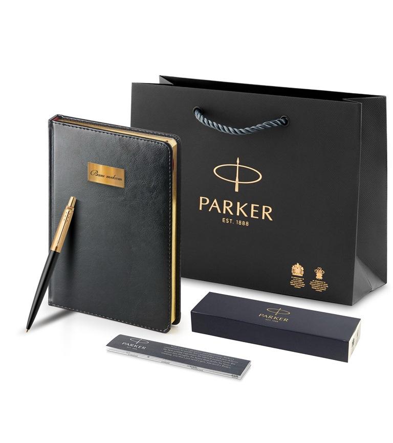 1953202set Набор с гравировкой: Ежедневник недатированный черный, золотой срез и Шариковая ручка Parker Jotter NEW - Premium, Bond Street Black GT